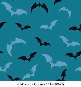 Seamless pattern with bats for Halloween on blue background. Vector illustration. Eps 10.