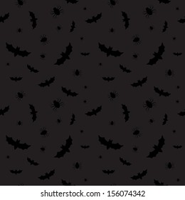 Seamless pattern with bats and spiders for Halloween