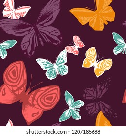 Seamless Pattern with batterfly. Beauty in Nature. Background for Fabric, Textile, Print and Invitation. Vector illustration