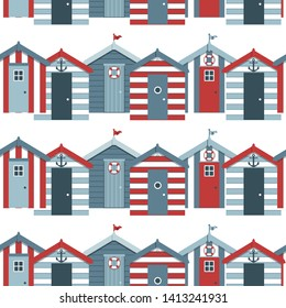 Seamless pattern with beach huts.