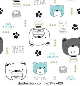 seamless pattern with bear, cute teddy bear cartoon, vector textile fabric print, wrapping