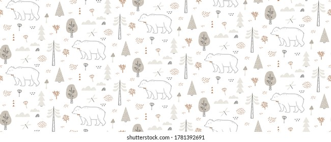 Seamless pattern with bear, dragonfly, clouds, trees. Hand drawn forest pattern is endlessly repeating. Can be used for kids, covers, fabrics, wallpapers, home decor. Vector illustration
