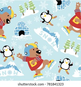 seamless pattern of bear and penguin cartoon playing in snow