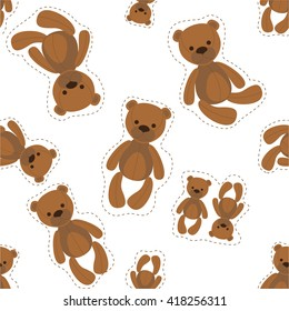 Seamless pattern with bears/ Seamless pattern with cute teddy bears children. Soft teddy bear - favorite toys of children.
