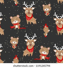 Seamless pattern with bears and deer. Perfect for cards, invitations, wallpaper, banners, kindergarten, baby shower, children room decoration.
