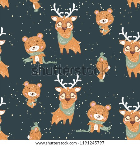 Seamless Pattern Bears Deer Perfect Cards Stock Vector Royalty Free