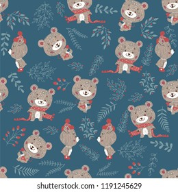 Seamless pattern with bears. Good for cards, invitations, wallpaper, banners, kindergarten, baby shower, children room decoration.