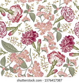 Seamless pattern. Beautiful blooming realistic isolated flowers. Vintage background fabric. Carnation clove Heliotrope wildflowers. Wallpaper baroque. Drawing engraving. Vector victorian illustration