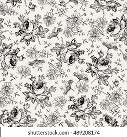 Seamless pattern. Beautiful blooming realistic isolated flowers. Vintage background textile. Chamomile, Rose, wildflowers. Wallpaper baroque. Drawing engraving tapestry. Vector victorian Illustration