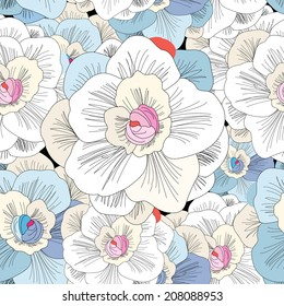 seamless pattern with beautiful delicate flowers on a black background
