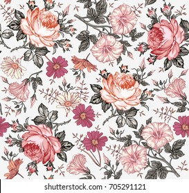 Seamless pattern. Beautiful fabric blooming realistic isolated flowers. Vintage background. Set Chamomile Rose petunia wildflowers. Wallpaper baroque. Drawing engraving. Vector victorian Illustration
