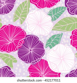 Seamless pattern with beautiful gentle bindweeds. It can be used for greeting cards, birthday cards, wedding invitations, wallpapers, textile, etc. Vector illustration
