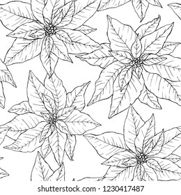 Seamless pattern with beautiful hand drawn poinsettias in lineart stile. Endless texture for Christmas and New Year decoration.