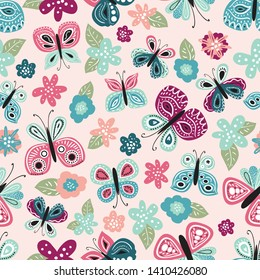Seamless pattern with beautiful hand drawn butterfly. Tileable background for kids and women product design, fabric, stationery, textile, apparel. Fun and colorful vector illustration