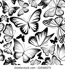 seamless pattern with beautiful lbutterflies silhouettes in black and white