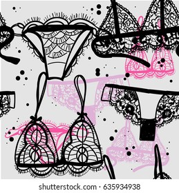 b6b642acb7 Seamless pattern beautiful lingerie. Drawing by hand in vintage style. Bra  and panties.