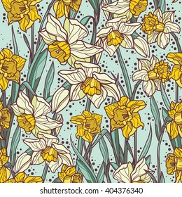 Seamless pattern with beautiful  narcissus flowers in mosaic style, art nouveau background, vector illustration