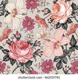 Seamless pattern. Beautiful pink blooming realistic isolated flowers. Vintage background tapestry Chamomile Rose hibiscus mallow wildflowers. Wallpaper. Drawing engraving Vector victorian Illustration