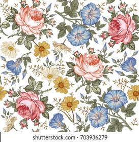 Seamless pattern. Beautiful pink blooming realistic isolated flowers. Vintage background. Chamomile Rose petunia wildflowers. Wallpaper baroque. Drawing engraving. Vector victorian Illustration.
