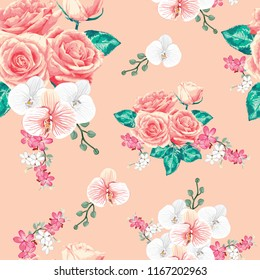 Seamless pattern beautiful pink Rose and white Orchid flowers on pastel color bacground.Vector illustration hand drawing watercolor style.