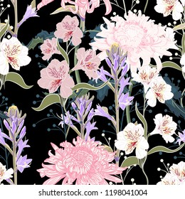Seamless pattern. Beautiful pink violet blooming flowers. Vintage black background. Lilac, chrysanthemums and wildflowers. Wallpaper or print for textile. Drawing engraving. Vector Illustration.
