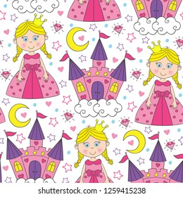 seamless pattern with beautiful princess and castle  - vector illustration, eps