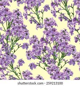 Seamless pattern of beautiful purple flowers