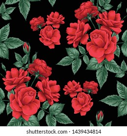Seamless pattern beautiful red Rose flowers on black color background.Vector illustration hand drawing line art.