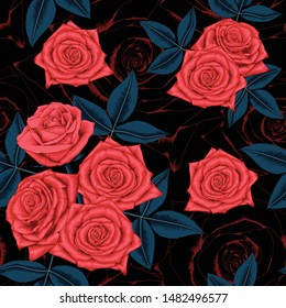 Seamless pattern beautiful red Rose flowers on abstract black background.Vector illustration hand drawing line art.