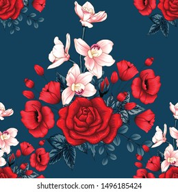 Seamless pattern beautiful red Rose,Orchid and poppy flowers on abstract dark blue background.Vector illustration hand drawing dry watercolor style.For textile fabric design