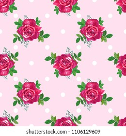 Seamless pattern with beautiful red roses and white dots on a light pink background.Summer Vector illustration in the style of shabby chic.Print for textile,fabric, wrapping paper,design a web site.