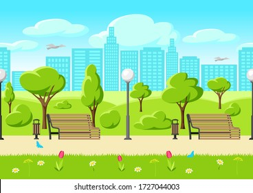 Seamless pattern with beautiful summer or spring city park. Urban public space with lawn and trees for walking and relaxing.
