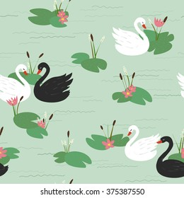 Seamless pattern with beautiful white and black swans and water lilies on the lake. Vector illustration