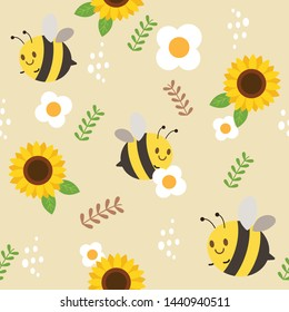 The seamless pattern of bee and sunflower and white flower and the leaf.  The character cartoon of cute bee in the yellow background. The cute bee in flat vector.