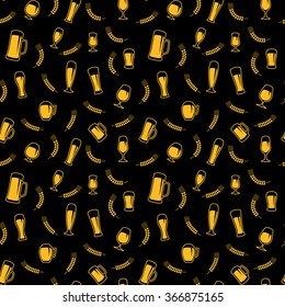 Seamless pattern of beer glasses and beer mugs. Black background