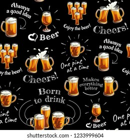 Seamless pattern with beer glasses and texts. Mugs and glasses for toast with light beer on black background.
