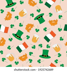 Seamless pattern with beer, leprechaun hat, beard and mustache, shamrock and irish flag on pink background