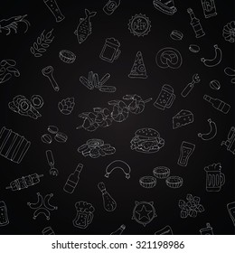 Seamless pattern of beer and beer snacks on a black chalkboard. Vector.