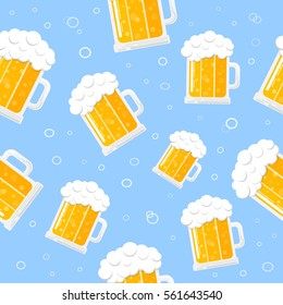 Seamless pattern with beers and bubbles on blue background. Vector.