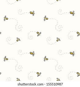 Seamless pattern with bees.