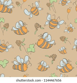 Seamless pattern of bees, flowers, clover and cloverleaf, hand drawn vector.