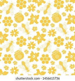 Seamless pattern with bees and flowers. Flat style. Vector illustration.
