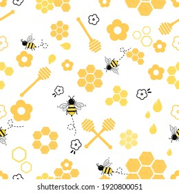 Seamless pattern with bees, honey, flowers on white background vector illustration. Cute cartoon honey print.