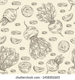 Seamless pattern with beet: full beetroot and piece of beet. Vector hand drawn illustration