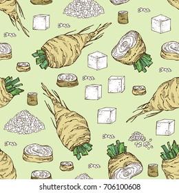 Seamless pattern with beet sugar: sugar and beet. Vector hand drawn illustration.