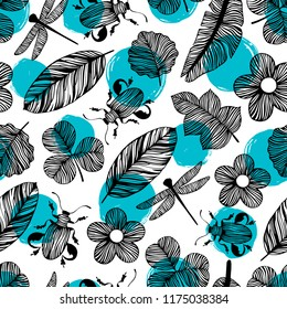 Seamless pattern with beetles and butterflies.