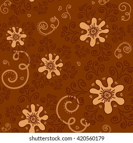 Seamless pattern beige flowers on a brown background. For printing on packaging, bags, cups, laptop, furniture, etc. Vector.