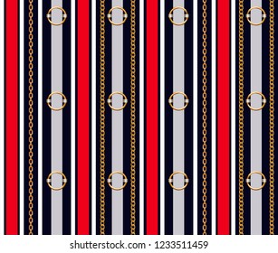Seamless pattern with belts, chain and braid for fabric
