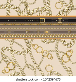 Seamless pattern with belts and chain on bright background for fabric. Trendy repeating border print.
