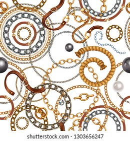 Seamless pattern with belts and gold and silver chains for fabric design, wallpapers, prints. Vector background with metallic accessories.